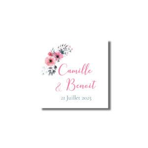 Sticker étiquette autocollante cadeau d'invité Bloom 37mm