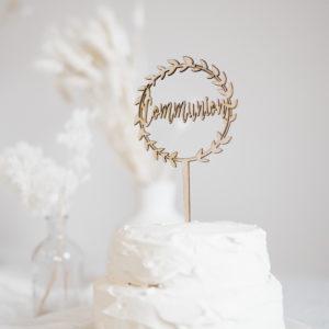 cake topper Communion en bois décoration original gâteau enfant