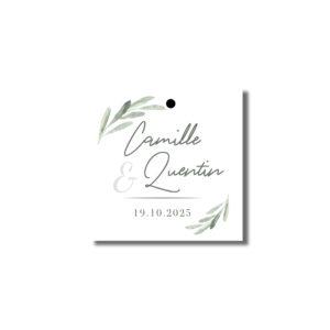 Etiquette perforée cadeau d'invité Garrigues 37mm