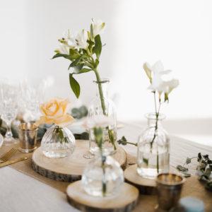 Mini vase retro en verre décoration de table mariage