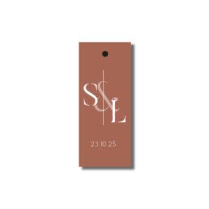 Etiquette perforée cadeau d'invité Terracotta 25*60mm