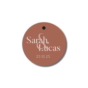 Etiquette perforée cadeau d'invité Terracotta 38mm