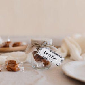 pots de caramels sable étiquette rectangle bali cadeau personnalisé mariage