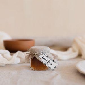 pots de confiture sable étiquette rectangle bali cadeau personnalisé mariage