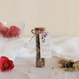 infusion de fleur bio étiquette rectangle bloom cadeau personnalisé mariage