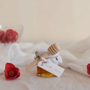 pot de miel blanc étiquette rectangle bloom cadeau personnalisé mariage
