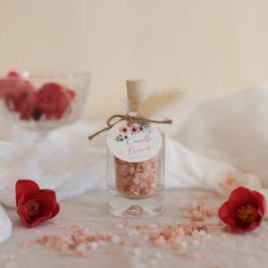flacon de sel rose himalaya étiquette ronde bloom cadeau personnalisé mariage