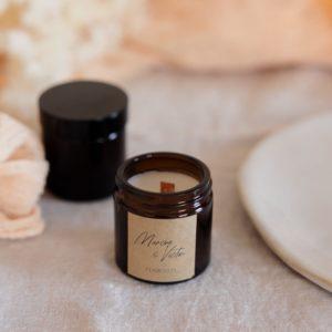 bougie verre brun boheme kraft cadeau invité mariage