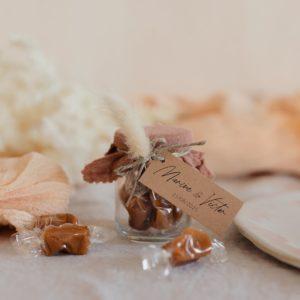 pot caramels terracotta étiquette rectangle boheme cadeau personnalisé mariage