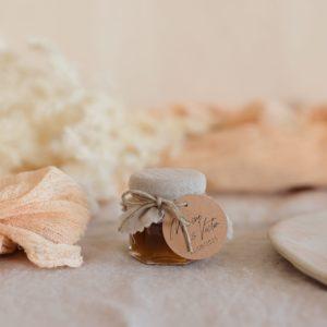 pot confiture sable étiquette ronde boheme cadeau personnalisé mariage