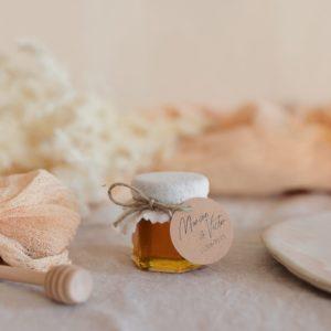 pot miel latte étiquette ronde boheme cadeau personnalisé mariage
