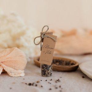 tube graines à semer étiquette rectangle boheme cadeau personnalisé mariage