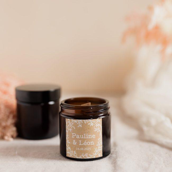 bougie verre brun champetre cadeau invité mariage personnalisé
