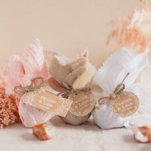 aumônière de caramels trio champêtre cadeau personnalisé mariage