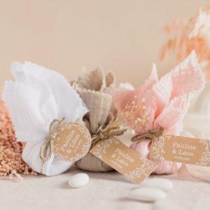aumônière de dragées collection champêtre cadeau personnalisé mariage
