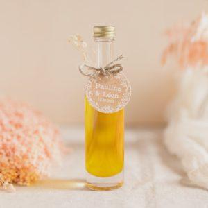 mignonnette huile olive étiquette ronde champetre cadeau personnalisé mariage