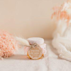 pot miel rose clair étiquette ronde champetre cadeaux personnalisé mariage