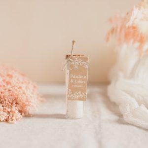 tube fleur de sel romarin étiquette rectangle champetre cadeau personnalisé mariage