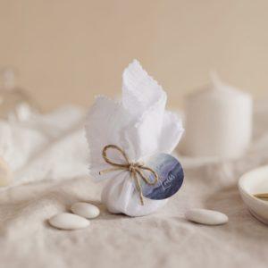 aumônière de dragées blanc étiquette ronde deepblue cadeau personnalisé mariage