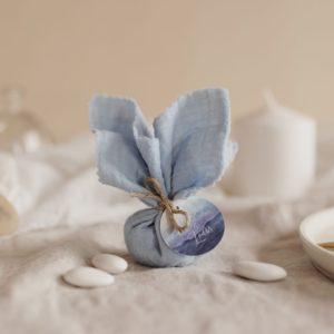 aumônière de dragées ciel étiquette ronde deepblue cadeau personnalisé mariage