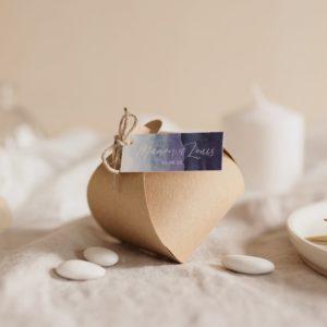 boite dragées kraft étiquette rectangle deepblue cadeau personnalisé mariage