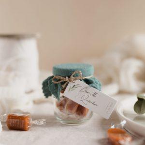 pot caramels celadon étiquette rectangle garrigues cadeau personnalisé mariage