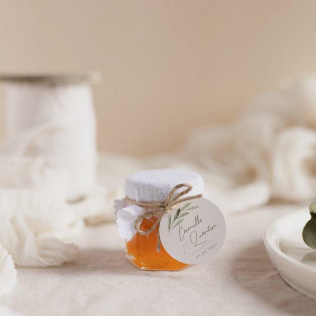 pot confiture blanc étiquette ronde garrigues cadeau personnalisé mariage