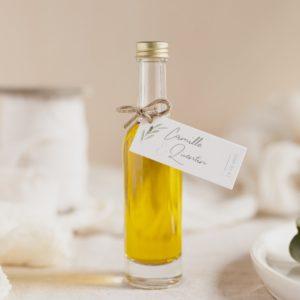mignonnette huile olive étiquette rectangle garrigues cadeau personnalisé mariage