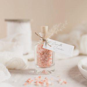 fleur de sel rose himalaya étiquette rectangle garrigues cadeau personnalisé mariage
