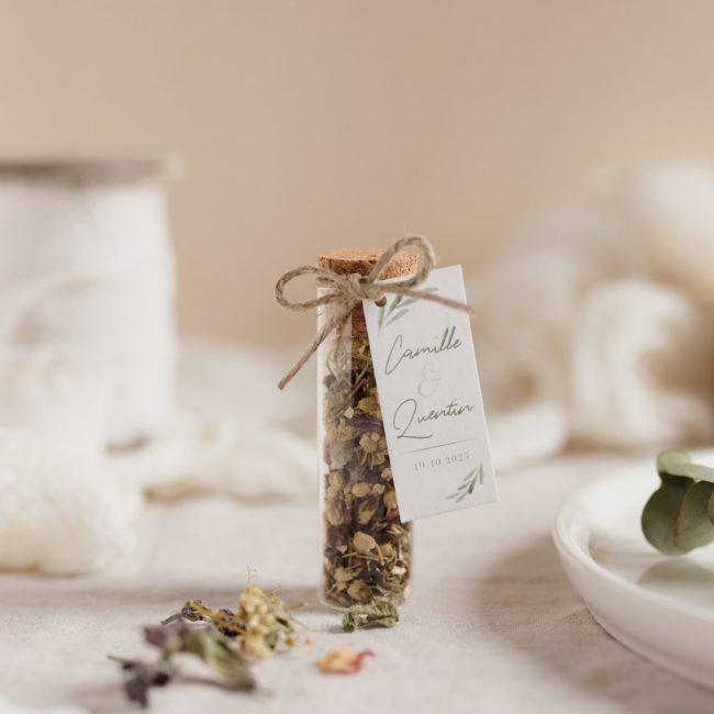 tube infusion fleurs étiquette rectangle garrigues cadeau personnalisé mariage