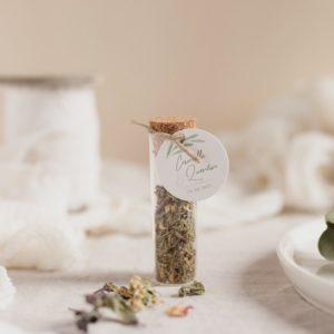 tube infusion fleurs étiquette ronde garrigues cadeau personnalisé mariage