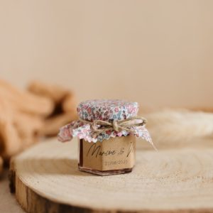 Petit pot de confiture Liberty cadeau d'invité personnalisé mariage New rose