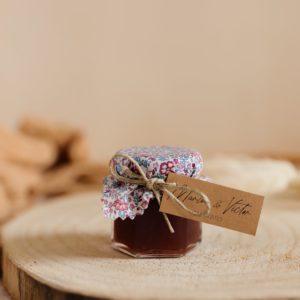 Petit pot de confiture Liberty cadeau d'invité personnalisé mariage Fushia