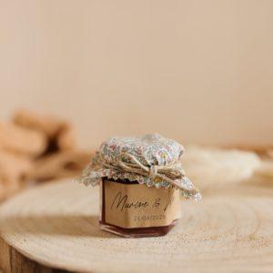 Petit pot de confiture Liberty cadeau d'invité personnalisé mariage Pastel