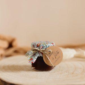Petit pot de confiture Liberty cadeau d'invité personnalisé mariage Eloise bleu