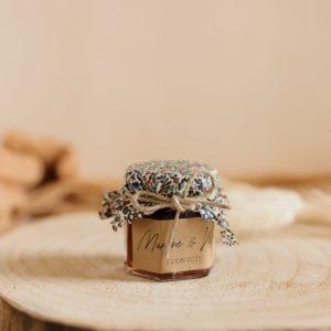 Petit pot de confiture Liberty cadeau d'invité personnalisé mariage Bistre