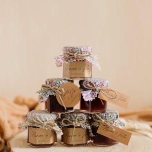 Petit pot de confiture Liberty cadeau d'invité personnalisé mariage Collection