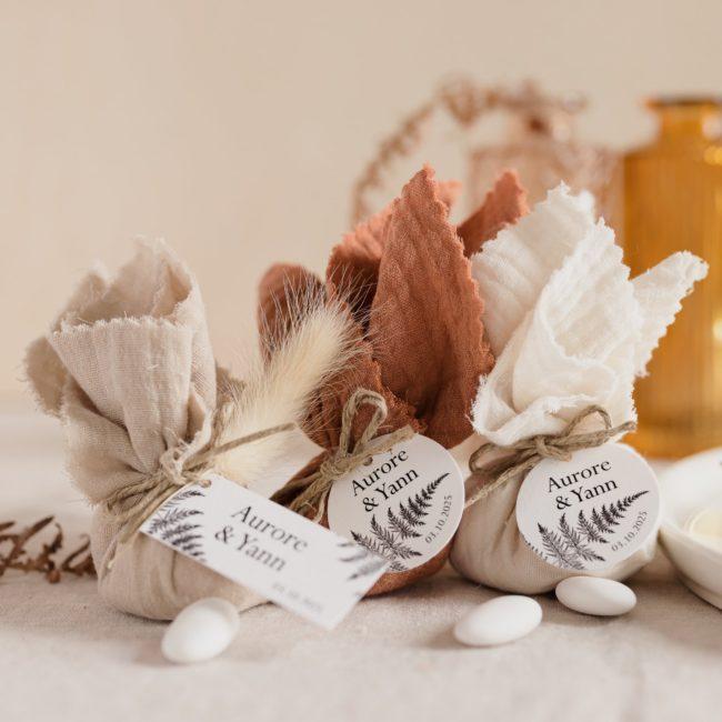 aumônière de dragées collection nature cadeau personnalisé mariage