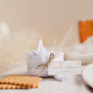 biscuits personnalisés mariage blanc pampa furoshiki