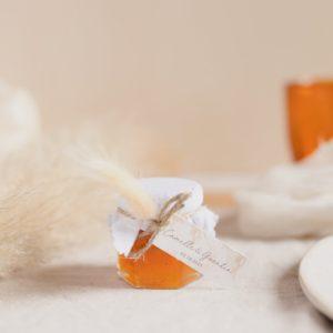 pot de confiture pampa blanc cadeau invité mariage personnalisé