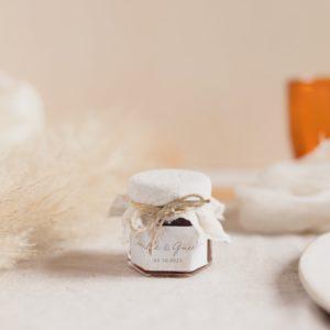 pot de confiture pampa latte cadeau invité mariage personnalisé