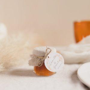 pot de confiture pampa sable cadeau invité mariage personnalisé