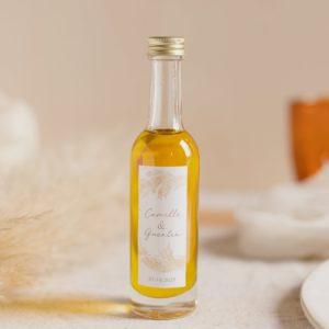 mignonnette huile d'olive pampa stickers cadeau d'invités mariage personnalisé