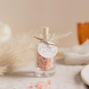 flacon de sel rose de l'himalaya pampa cadeau invité mariage