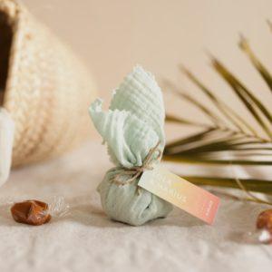 aumônière de caramels vert d'eau étiquette rectangle sunset cadeau personnalisé mariage