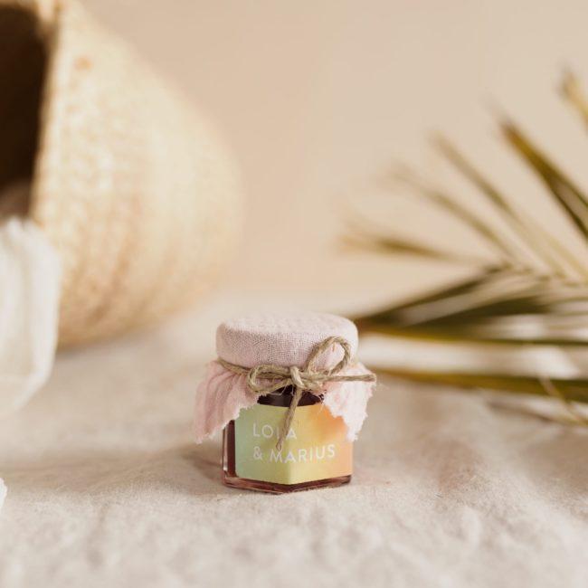pot confiture blush stickers sunset cadeau personnalisé mariage