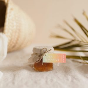 pot confiture sable étiquette rectangle sunset cadeau personnalisé mariage