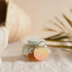 pot confiture vert d'eau étiquette ronde sunset cadeau personnalisé mariage