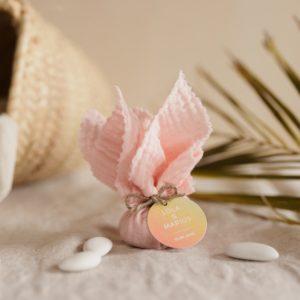 aumônière de dragées blush étiquette ronde sunset cadeau personnalisé mariage