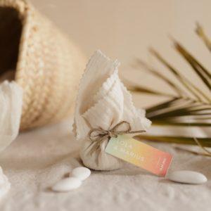 aumônière de dragées latte étiquette rectangle sunset cadeau personnalisé mariage